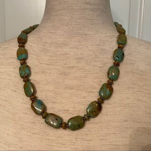 """Jewelry - NECKLACE GREEN BROWN TURQUOISE BEADS 22"""" JEWELRY"""